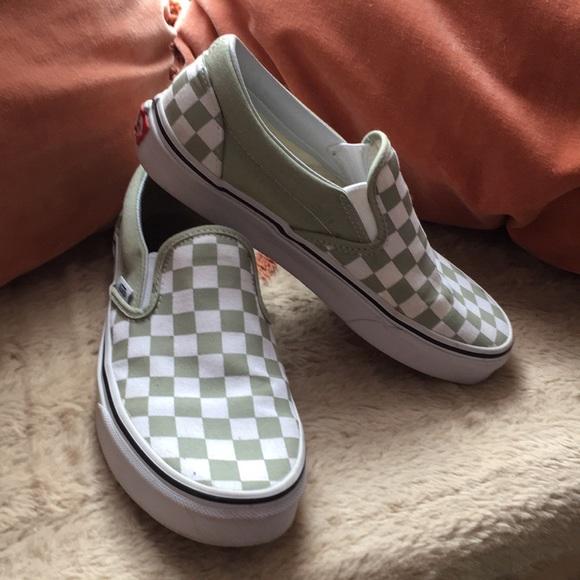 Vans Shoes | Sage Green Checkered Vans